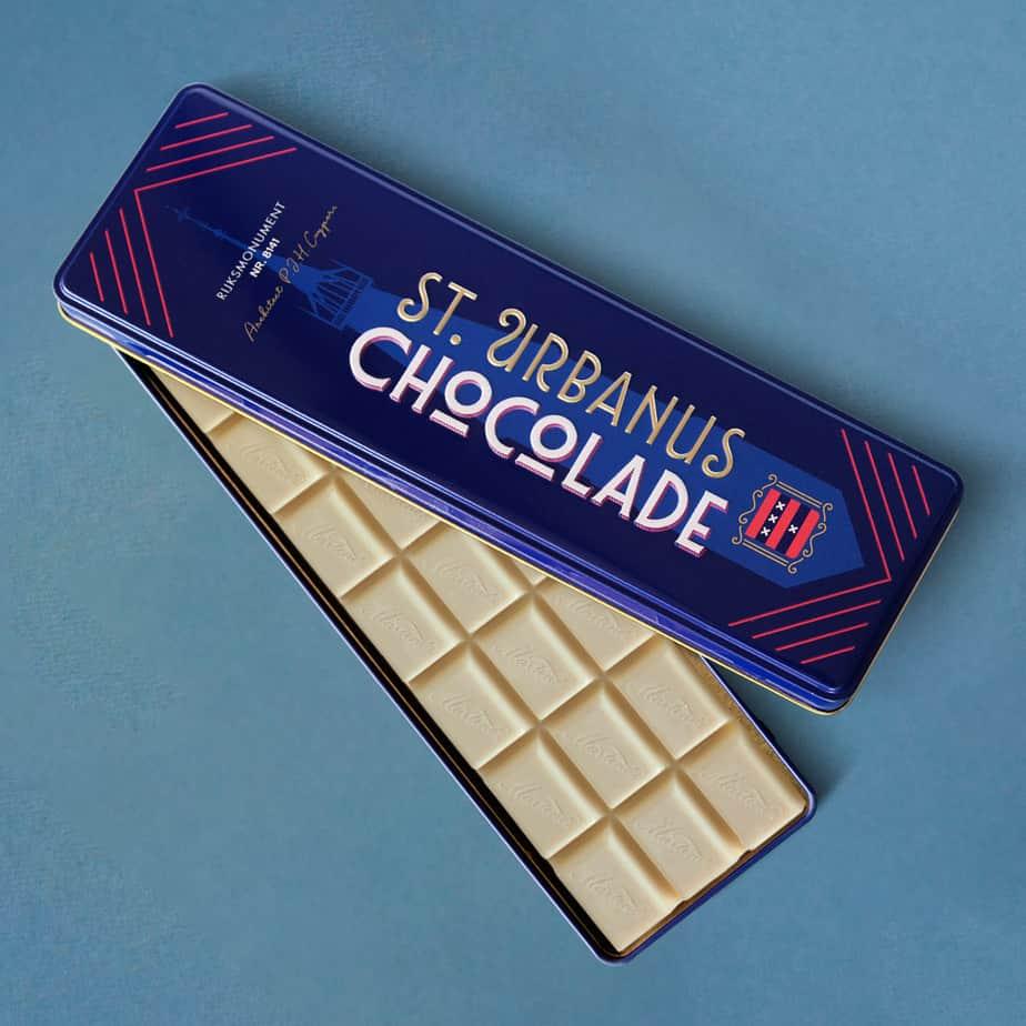 Blikje chocoladereep wit